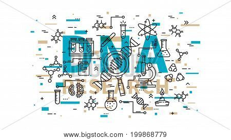 DNA research vector illustration with colorful elements. Genetic analysis line art concept. Biotechnology elements: microscope gene genome dna chain test-tube cell graphic design.