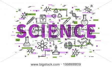 Science line art vector illustration with colorful elements. Physics chemistry biology elements: microscope test-tube book dna chain molecule graphic design.
