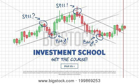 Investment school vector illustration. Japanese candlestick chart with lines of support and resistance creative concept. Buy and sell indicators on the candle bar chart graphic design.