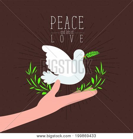 brown color poster with sparks and hand holding a pigeon with olive branch in peak with decorative half crown of leaves and text peace a lots of love with linear brightness vector illustration