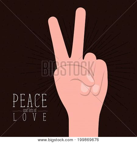brown poster with sparks and hand victory symbol with linear brightness and text peace and lots of love vector illustration