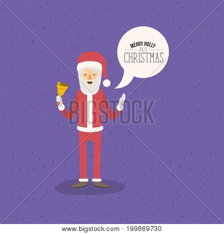 violet color poster with sparks and full body standing of santa claus with dialog box text merry holly jolly christmas vector illustration