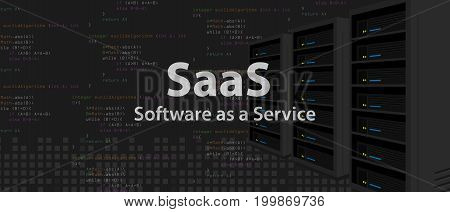 SaaS Software as a service code line of programming internet application vector