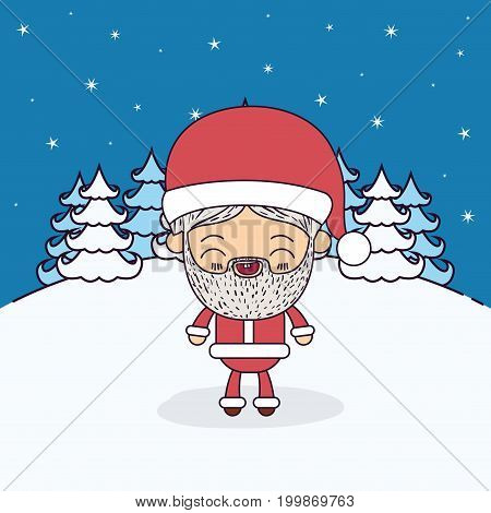 winter landscape background with full body caricature of santa claus vector illustration