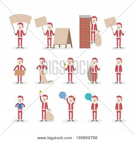 white background with full body caricature set of santa claus in different activities vector illustration
