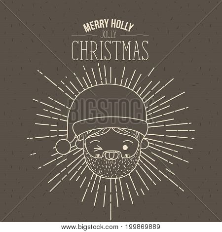 brown poster with sparks and silhouette cute closeup face santa claus with wink eye and tongue out and text merry holly jolly christmas vector illustration
