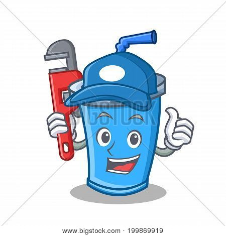 Plumber soda drink character cartoon vector illustration