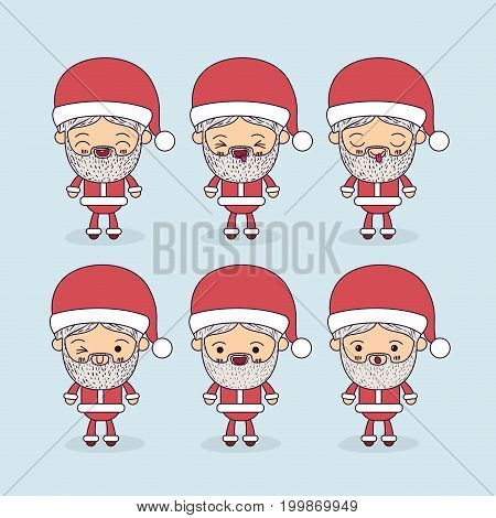 color background with full body caricature set of santa claus vector illustration