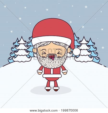 winter landscape background with full body caricature of santa claus with eyes closed and tongue out expression vector illustration