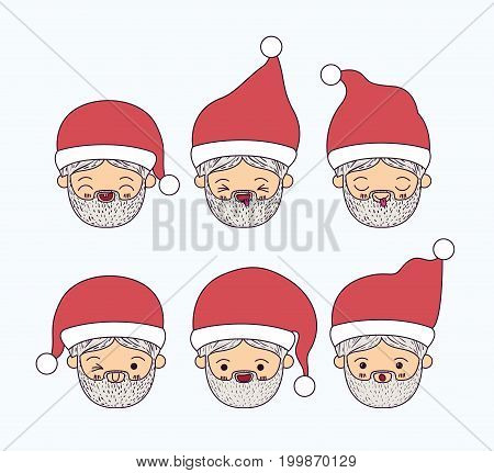 white background with face cute caricature set of santa claus vector illustration