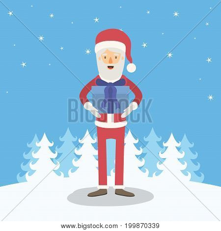 blue winter landscape background with full body caricature of santa claus with gift box in her hands vector illustration