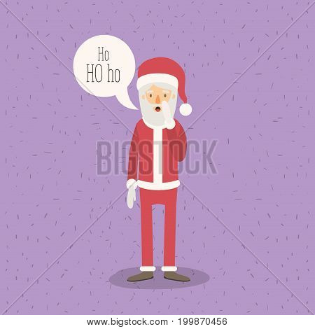 color poster with sparks with full body caricature of santa claus with with dialogue box text ho ho ho vector illustration