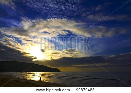 Sunrise with silhouette mountain the beach Ban Krut Beach in Prachap Kirikhun Province Thailand is famous for travel