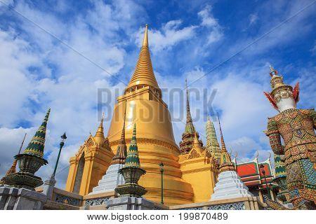 beautiful fine art exterior decorated of grand palace bangkok thailand