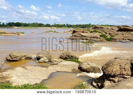 Mekong Rive and beach at Khemarat DistrictUbon Ratchathani Province Thailand