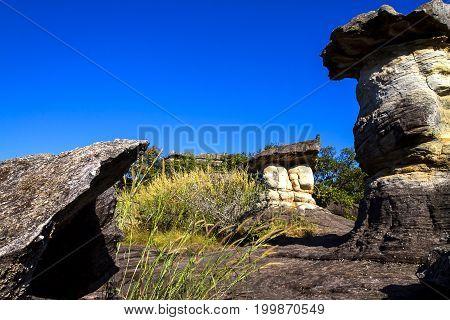Mushroom stone beauty with sky at Phu Pha thoep National Park Mukdahan county of Thailand