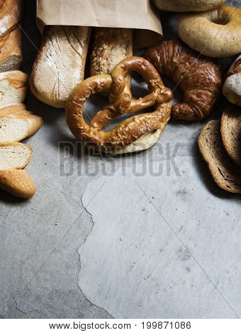 Mixed of pastry on concrete textured