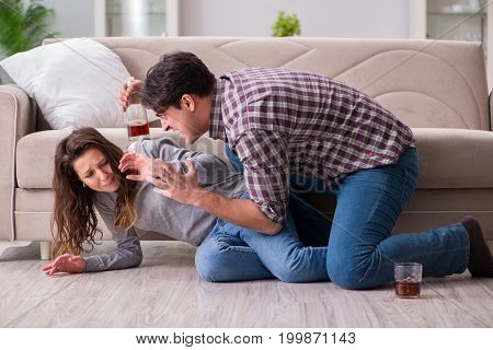 Domestic violence concept in a family argument