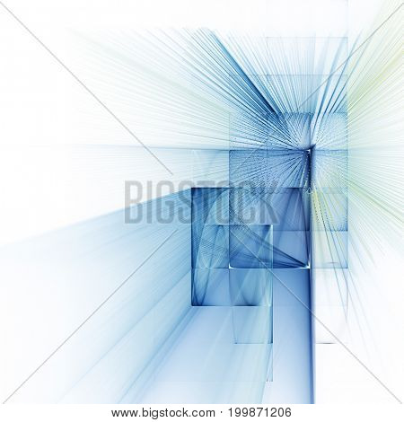 Abstract background element. Fractal graphics series. Curves, blurs and twisted grids composition. Blue and white colors.