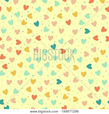 seamless pattern with colorful hearts and dots, vector illustration
