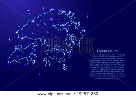 Map Hong Kong from the contours network blue luminous space stars of vector illustration
