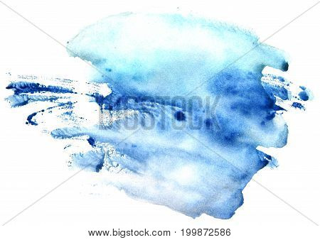 Watercolor blue spot on a white background. Abstract splash.