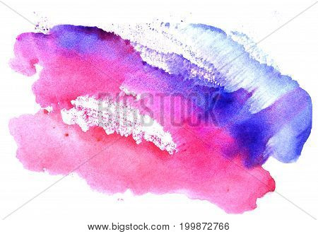 Watercolor blue-scarlet stain on a white background. Abstract splash.