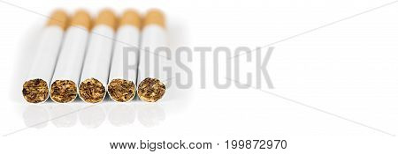 Five cigarettes on white background place to write