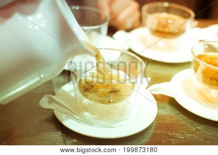 Blurry Background Vintage Color Style Of Chef In Hotel Or Restaurant Kitchen Cooking For Luxury Dinn