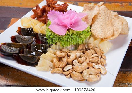 Thai Appetizer Style Has Cashew Nut, Preserved Egg, Cornflakes And Sausage With Pineapple, Pickled G