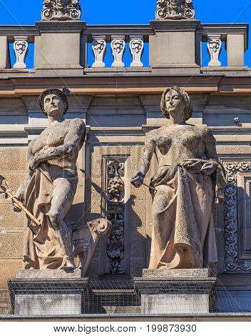 Zurich, Switzerland - 20 July, 2016: sculptures on the facade of the Zurich main railway station. Zurich main railway station building was designed by architect Jakob Friedrich Wanner and opened in 1871.