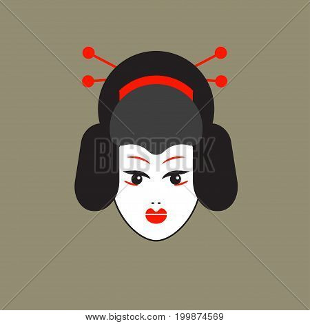 Logo head of Japanese geisha. Flat icon of Japanese culture. Vector illustration.