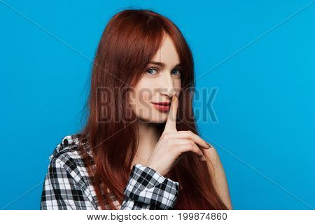 Young woman secrets. Gesture silent. Modern youth gossips, fashion female model, playful lady privacy