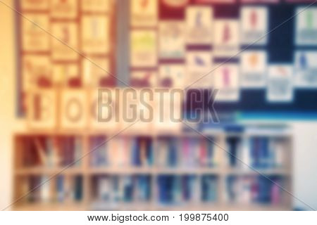 Blur Background Of Part Library And Bookshelf In The School With Vintage Color Style.