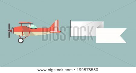 Old-fashioned red monoplane with big propeller and long blank white stripe for advertisement attached to tail of craft isolated vector illustration on turquoise background. unusual way to promote.