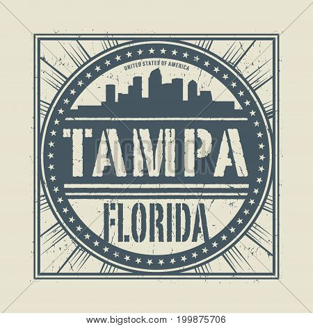 Grunge rubber stamp or label with text Tampa Florida written inside vector illustration