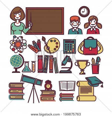 School education lessons icons. Teacher at blackboard, girl and boy pupil in class with rucksack, astronomy telescope or mathematics ruler and geometry globe or writing stationery. Vector isolated set