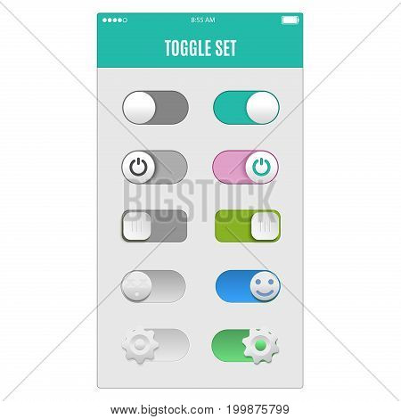 Toggle switch set, On and Off sliders, elements.
