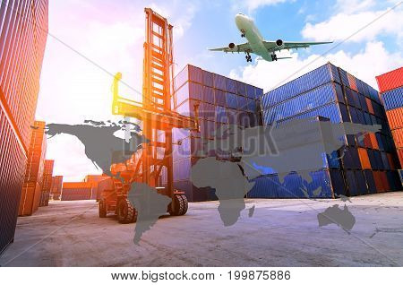 Business Logistics concept Global business connection technology interface global partner connection of Container Cargo freight ship for Logistic Import Export background