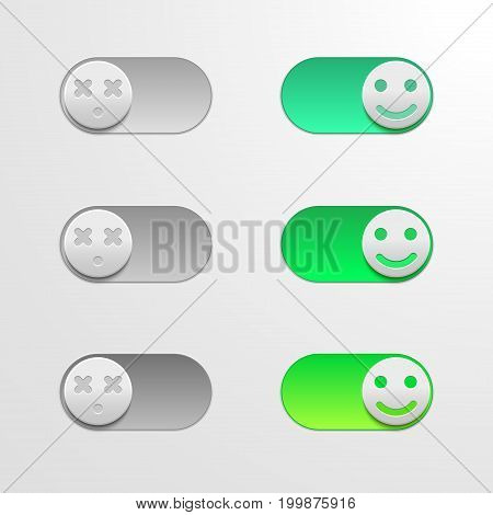 Toggle switch set, On and Off sliders, vector elements for your design on light backgound. The switch in the form of smiley.