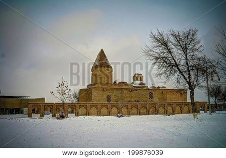 Winter view to Chashma-Ayub Mausoleum in Bukhara Uzbekistan