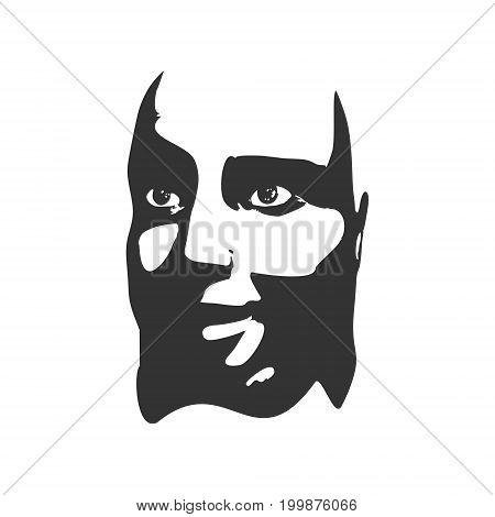 Face half turn view. Elegant silhouette of a female head. Vector Illustration. Overweight condition.
