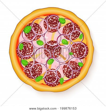 Vector illustration of Tasty, flavorful pizza isolated on white background. Pizza with salami, ham and onion.