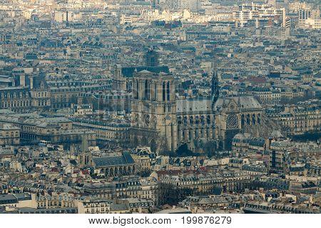 View from top on Notre Dame de Paris, France