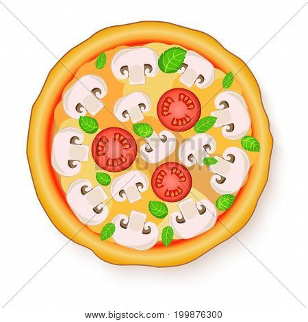 Vector illustration of Tasty, flavorful pizza isolated on white background. Vegetarian pizza with mushrooms