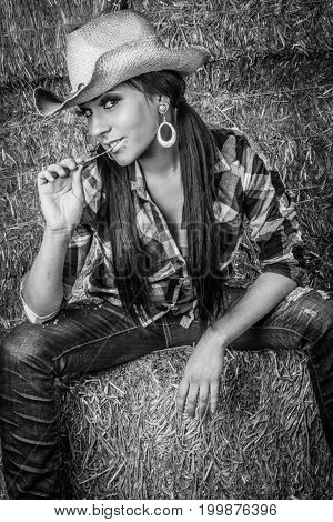 Beautiful country cowgirl woman sitting in hay