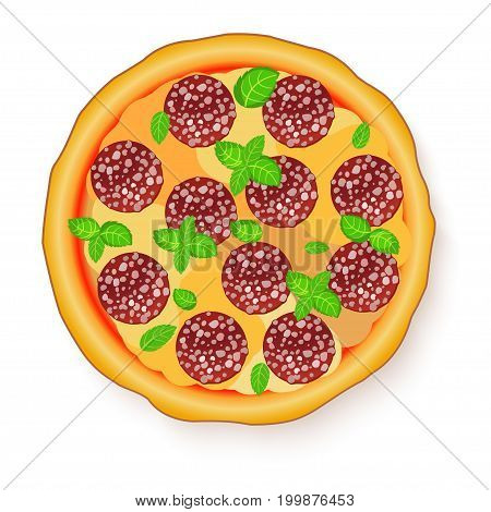 Vector illustration of Tasty, flavorful pizza isolated on white background. Pizza Pepperoni.