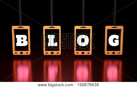 Blog text on abstract phone screen hanging from a chain. 3D rendering