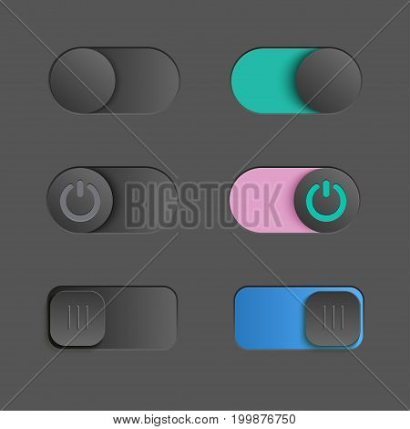 Toggle switch set, On and Off sliders, vector elements.