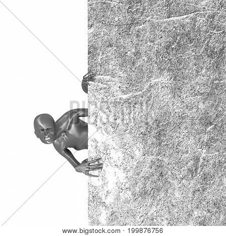 Zombie showing and displaying placard textured by concrete ready for your text. 3D rendering